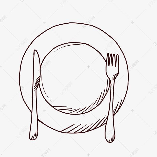 勺子叉子_手绘刀叉盘子餐具素材图片免费下载_高清psd_千库网(图片编号11772189)