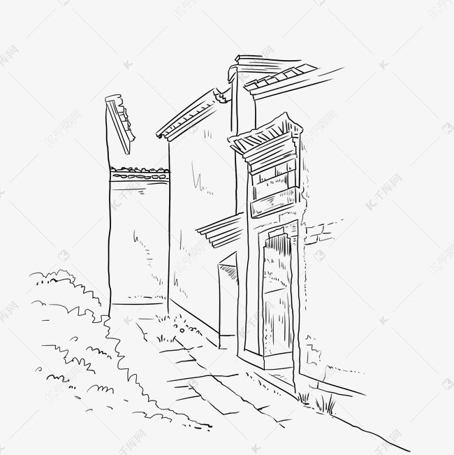 传统中式建筑线条草图素材图片免费下载 千库网