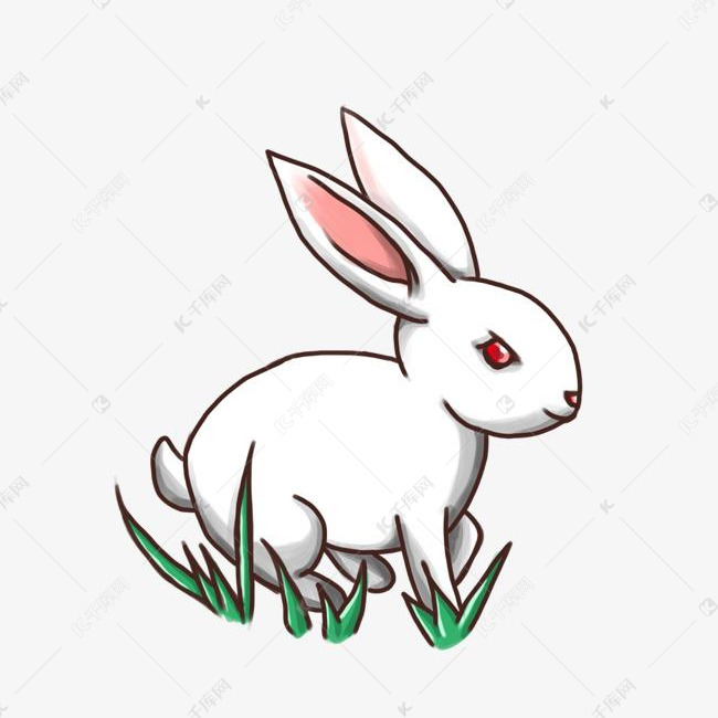 中秋节月兔手绘玉兔素材图片免费下载 高清psd 千库网 图片编号10865513