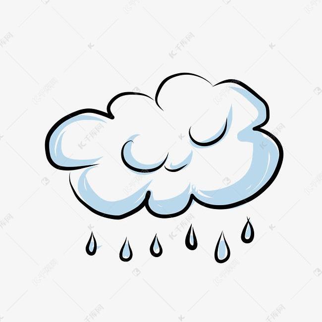 小清新简笔画手绘卡通手绘云朵下雨素材图片免费下载 千库网
