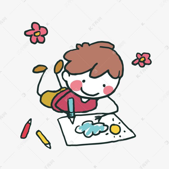 卡通画画男孩矢量图素材图片免费下载 高清psd 千库网 图片编号9671281