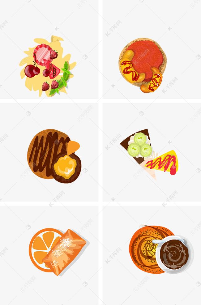食物装饰元素图案的素材免抠简笔画中餐卡通手绘牛排牛肉美食薯条西餐野餐面包食品食物餐饮鱼肉鸡肉