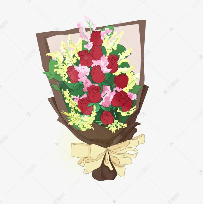 情人节手绘一捧玫瑰花元素素材图片免费下载 高清psd 千库网 图片编号10543303