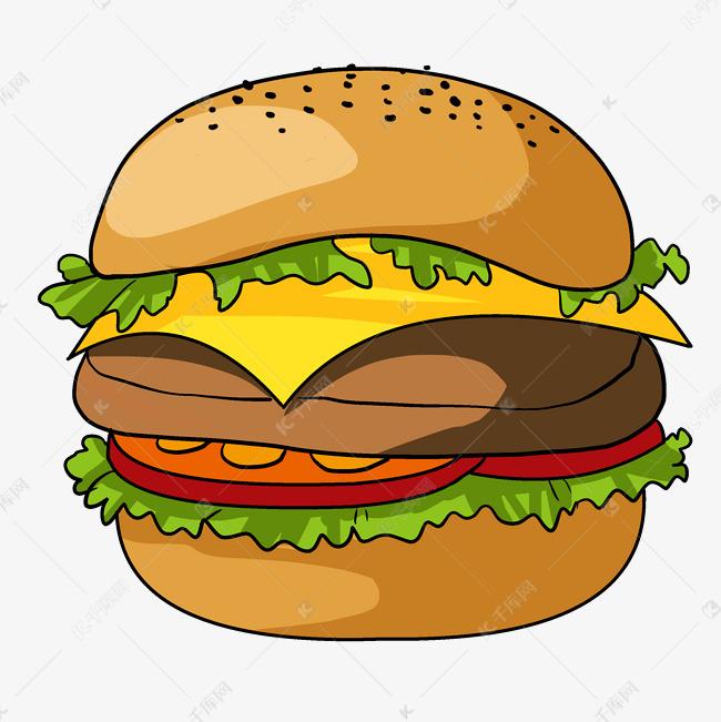 手绘美味汉堡插画素材图片免费下载 高清psd 千库网 图片编号11815417