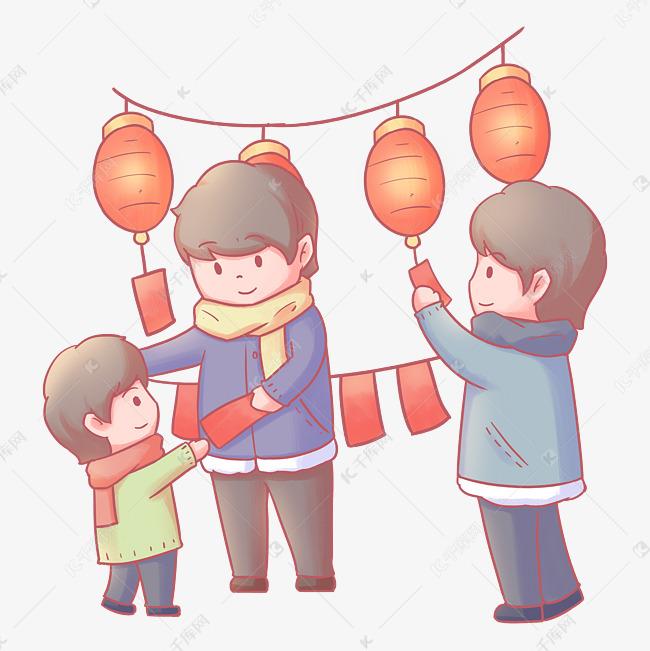 元宵节带孩子逛灯会猜灯谜卡通手图片