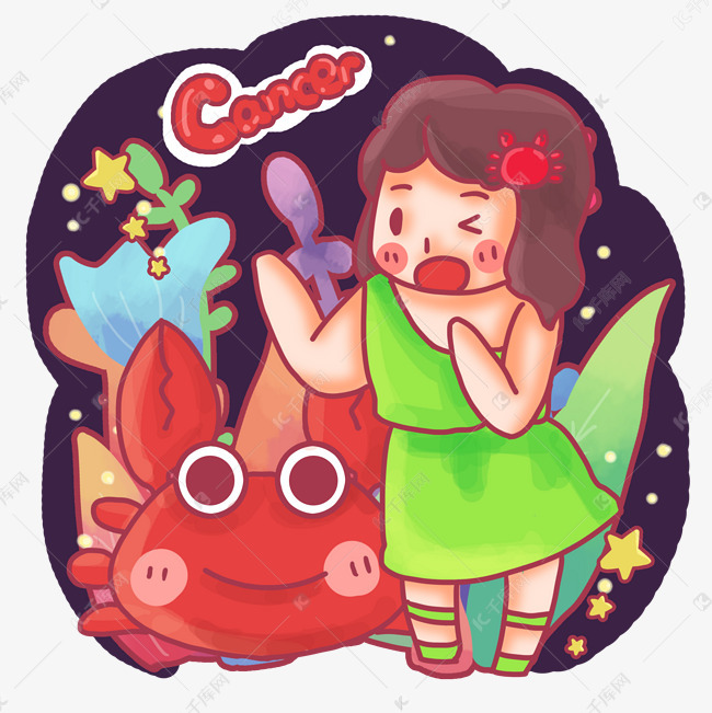 红色的星座巨蟹座螃蟹双鱼座男会喜欢双鱼女图片