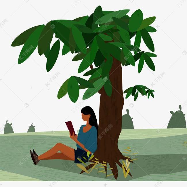 手绘坐在树下读书的女孩素材图片免费下载 高清psd 千库网 图片编号10824945图片