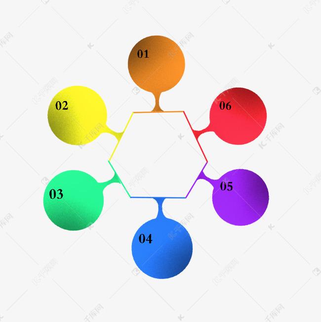 五颜六色圆形分解样式ppt图片
