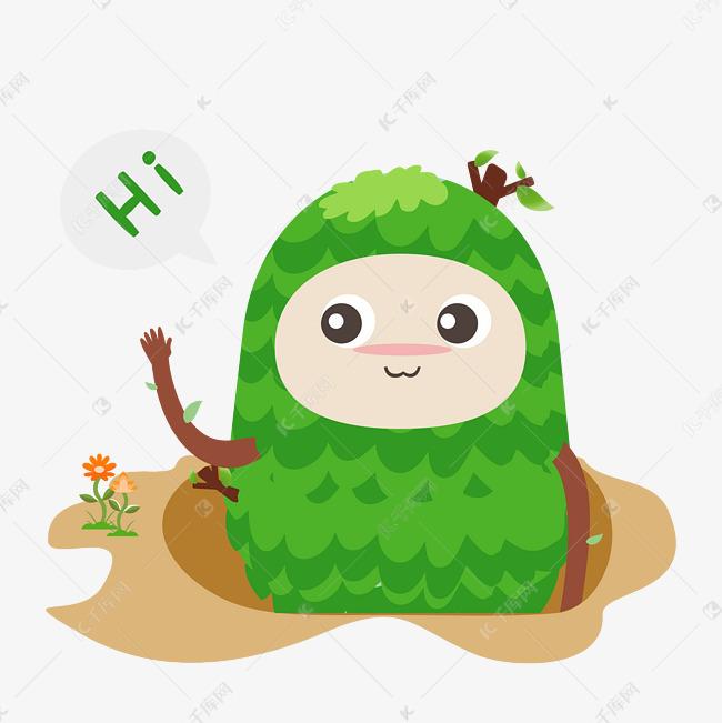 hi打招呼手绘1小树表情搞笑表情包动物动态图片人绿色图片