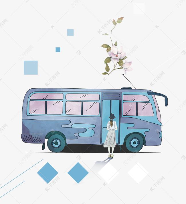 免抠卡通手绘坐公交车的女孩图片