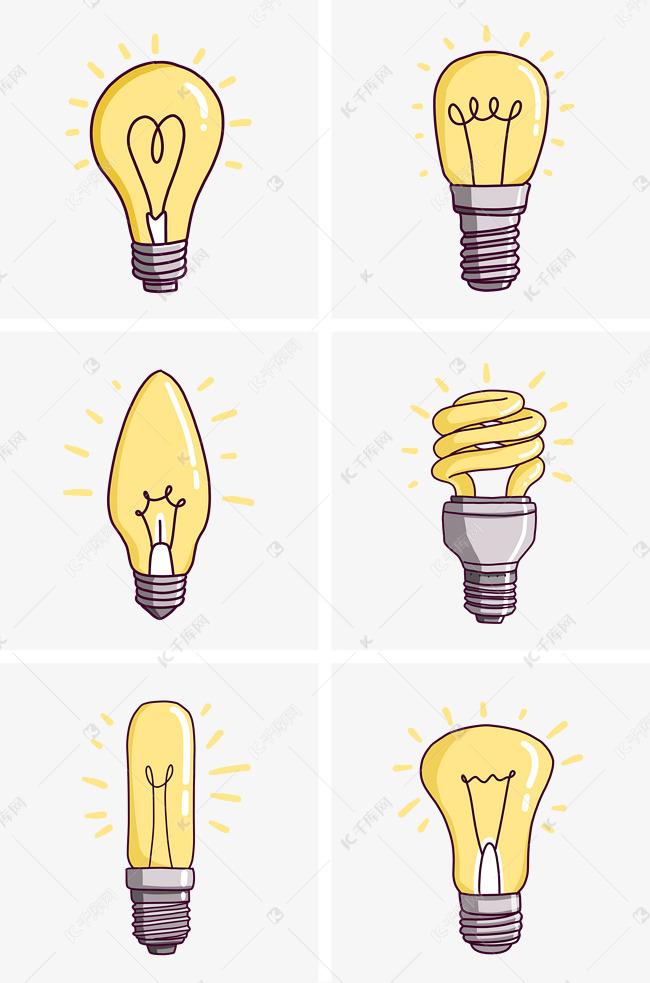 创意灯泡简笔画插图组图PNG免抠素材图片免费下载 千库网