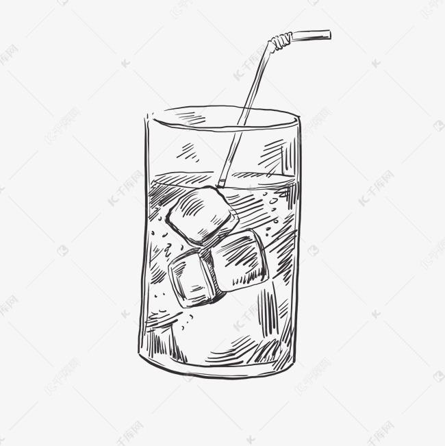 线稿水杯冰块饮料手绘插画元素素材图片免费下载 千库网