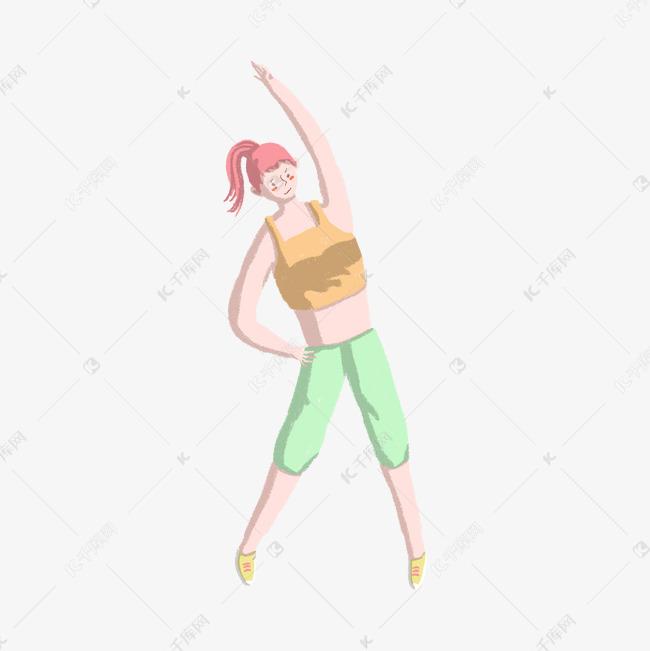 运动健身侧弯腰女生PNG女生贫初中乳图片