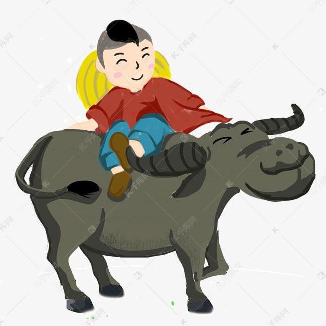 卡通手绘牧童骑牛的素材免抠清明节清明节牧童清明节折柳踏青清明节