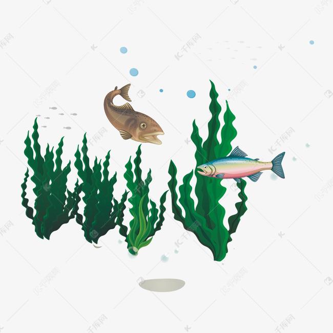 卡通水里的鱼矢量素材图片免费下载 千库网