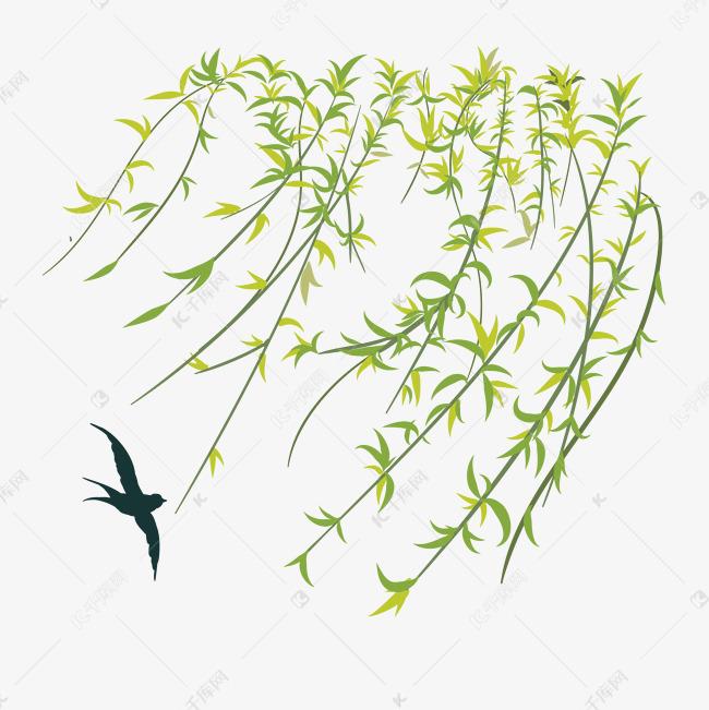 卡通手绘绿色杨柳素材图片免费下载 千库网