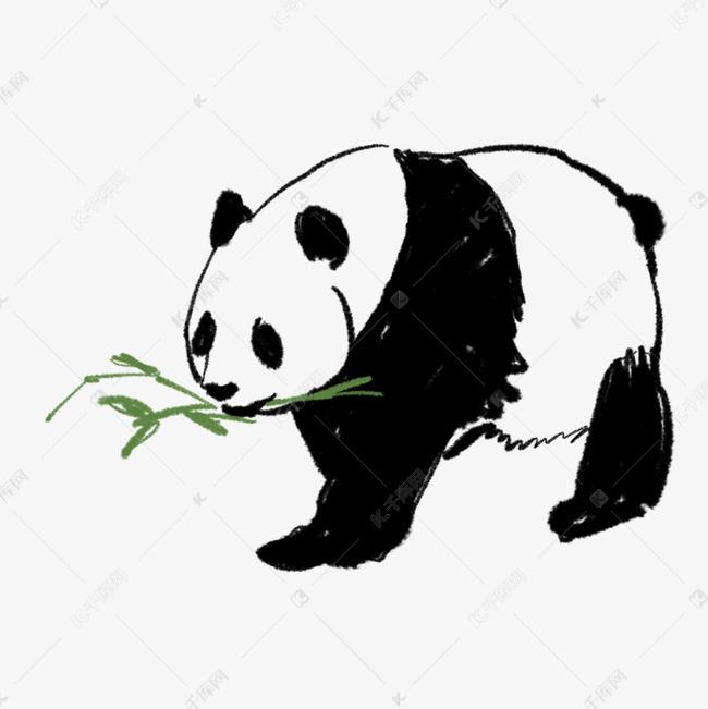 手绘小熊猫吃竹子免抠图素材图片免费下载 千库网