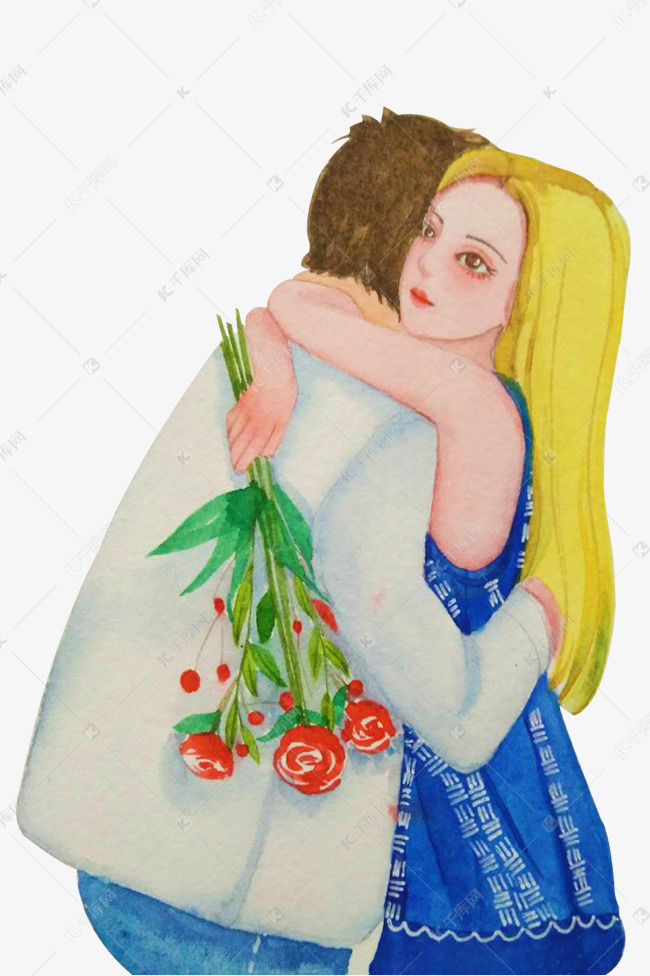 情人节七夕拥抱的情侣水彩手绘素材图片免费下载 高清psd 千库网 图片编号10937399