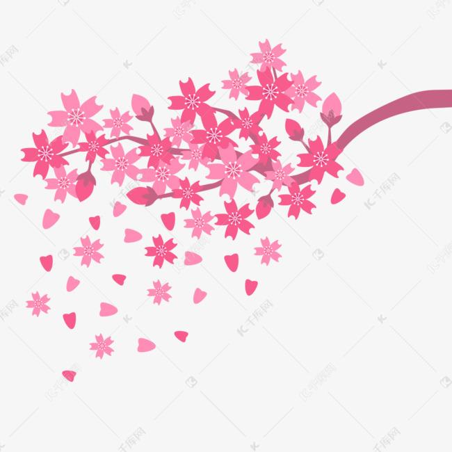 矢量粉红樱花简约插画素材图片免费下载 千库网