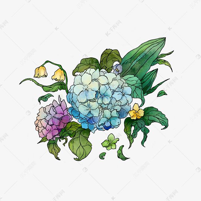 夏天绿色植物手绘花草装饰
