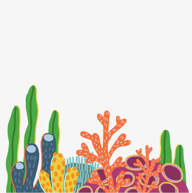 免抠卡通手绘海底世界海草装饰的素材免抠
