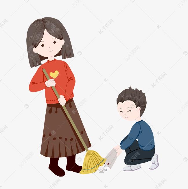 和妈妈一起扫地做家务图片