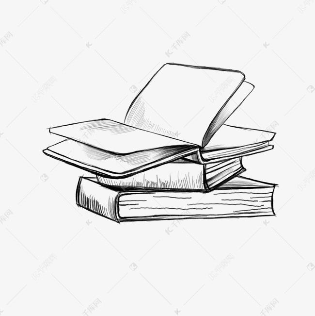 手绘简约线条书本图片
