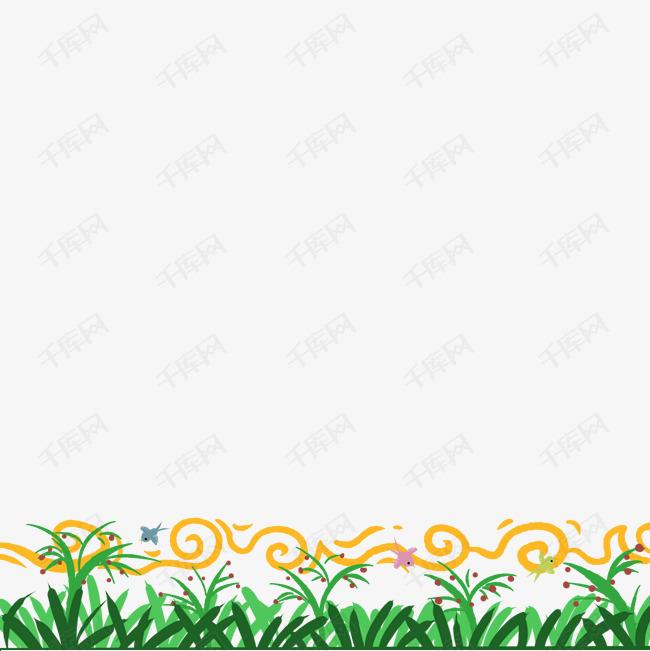 小鸟小花草地插图