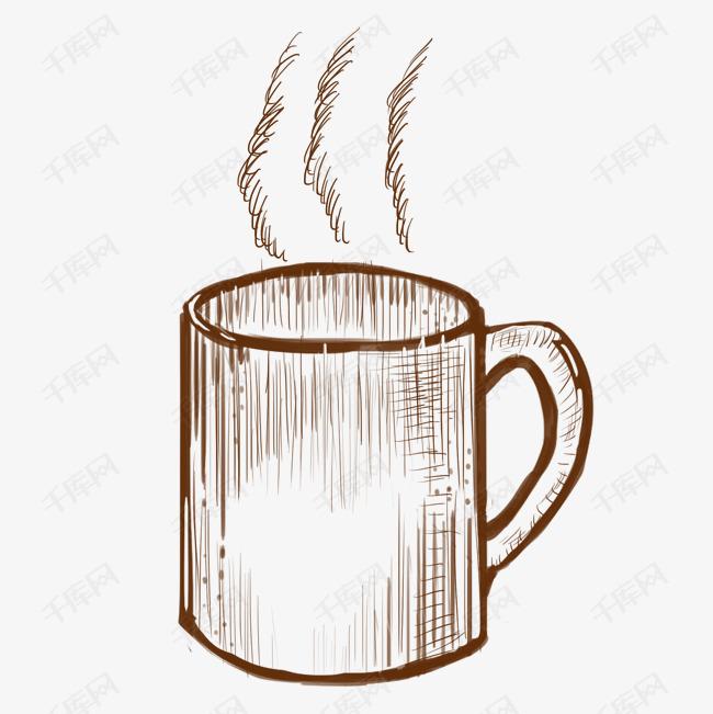 线描水杯装饰插画素材图片免费下载 千库网图片
