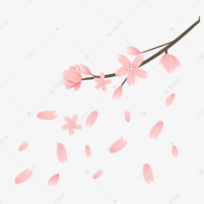 简约粉色樱花插画海报免抠元素素材图片免费下载 千库网
