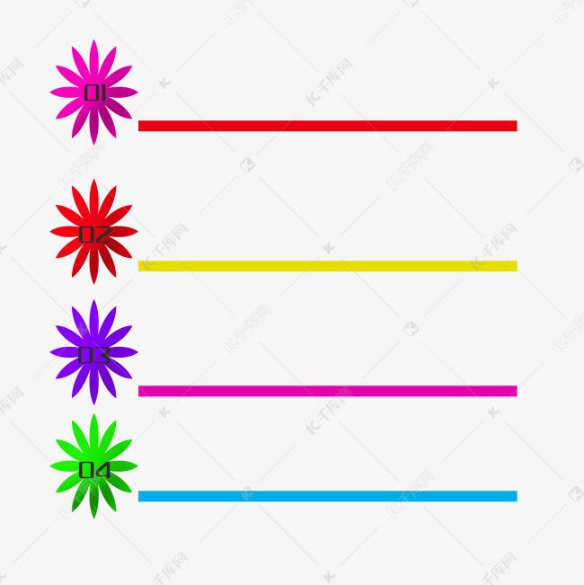 彩色线条ppt装饰插画素材图片免费下载 千库网
