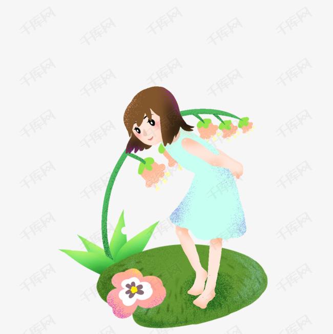 清明弯腰赏花插画女孩初中课程品德设计思想图片