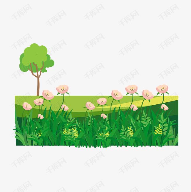 免扣卡通草地花朵