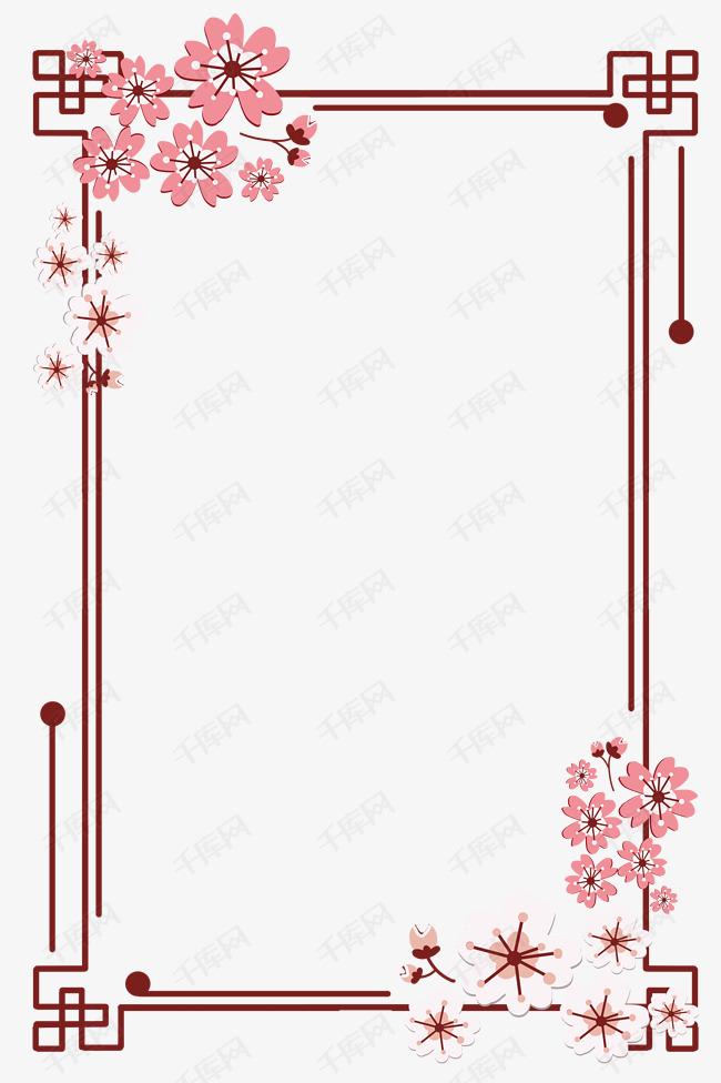 简约扁平剪纸粉白色樱花古风边框素材图片免费下载 千库网