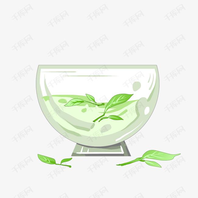 卡通绿茶茶叶插画素材图片免费下载 千库网
