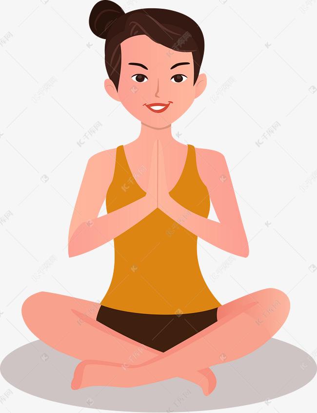 原创v瑜伽在家做瑜伽的女孩手绘女生卡亲人图片