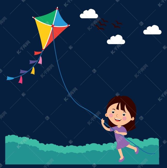卡通手绘小女孩放风筝矢量图素材图片免费下载 千库网