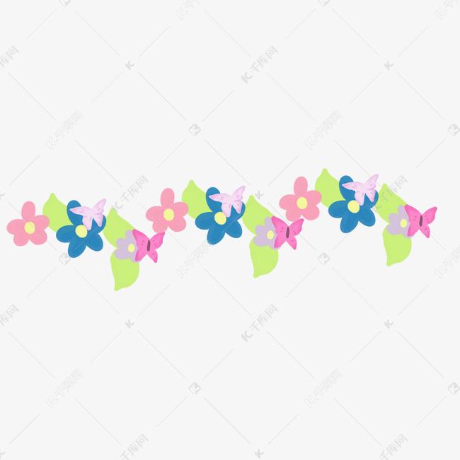 手绘彩色蝴蝶花朵边框