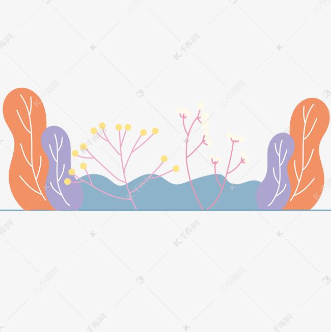 夏日清新手绘植物花草