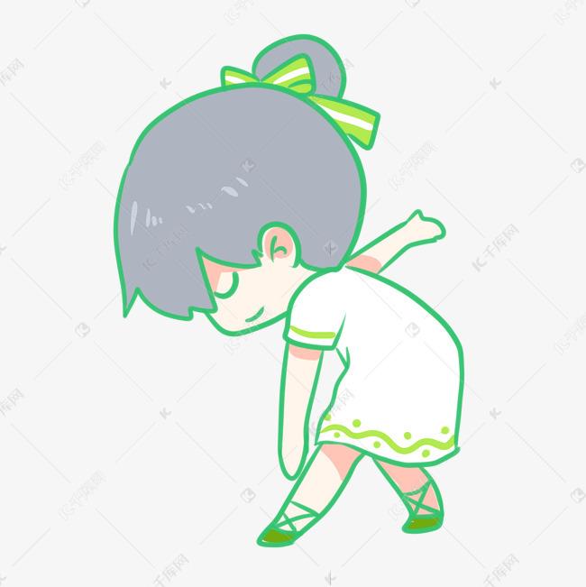 女孩跳舞的绿裙正在鱼的喜欢女生图片