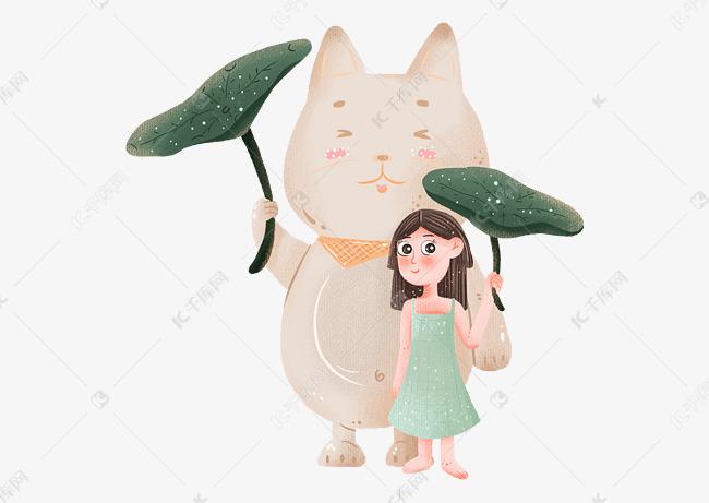 绘画下面躲雨的小女孩和小女生图片荷叶后背动物图片
