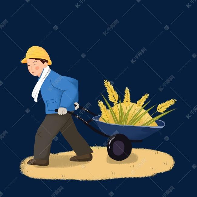 农民推车收割麦子素材图片免费下载 千库网