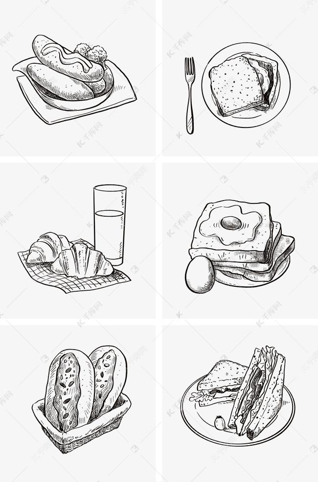 黑白线稿面包组图1素材图片免费下载 千库网