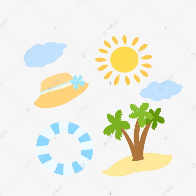 手绘插画夏季海滩元素集合
