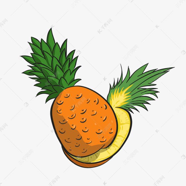 橙色凤梨创意手绘插画元素