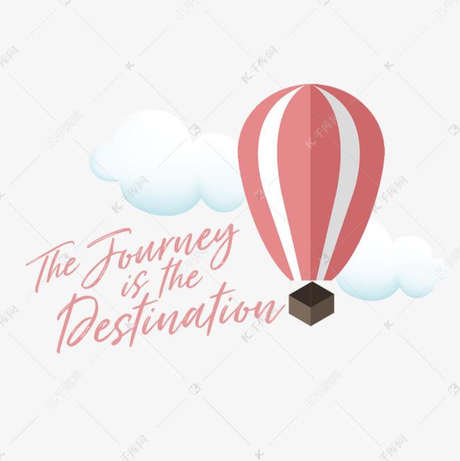 手绘热气球旅行海报