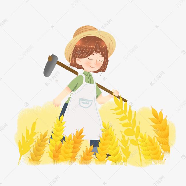 芒种收割麦子农民女孩png素材图片免费下载 千库网