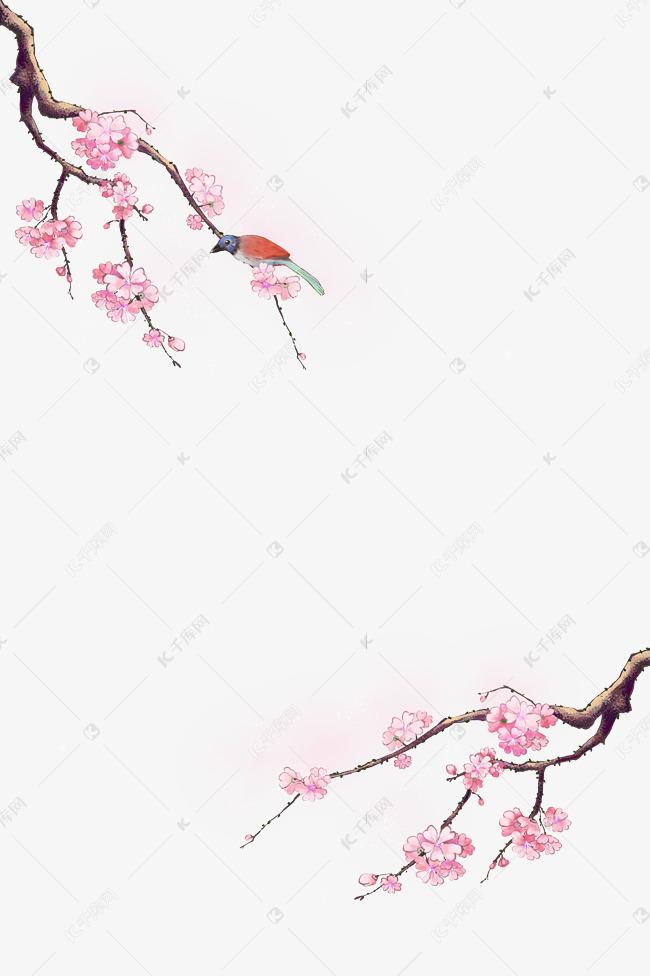 古风花鸟装饰梅花樱花边框素材图片免费下载 千库网