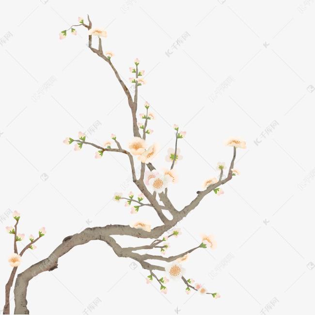 手绘古风水墨白色梨花素材图片免费下载 千库网