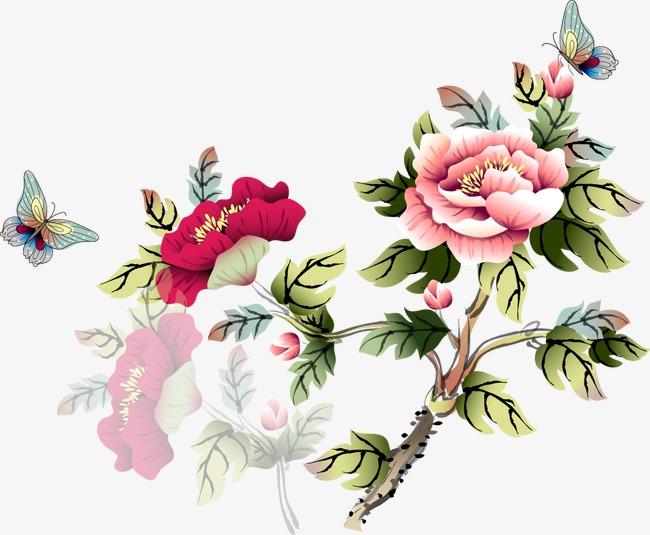 卡通手绘牡丹花